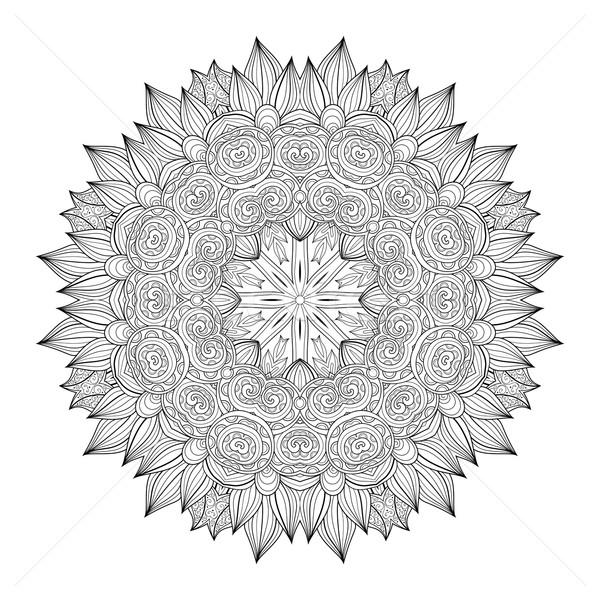 Wektora piękna monochromatyczny kontur mandala Zdjęcia stock © lissantee