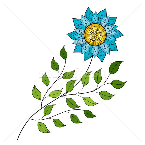 Stockfoto: Vector · mooie · gekleurd · contour · bloem · vector · bloem