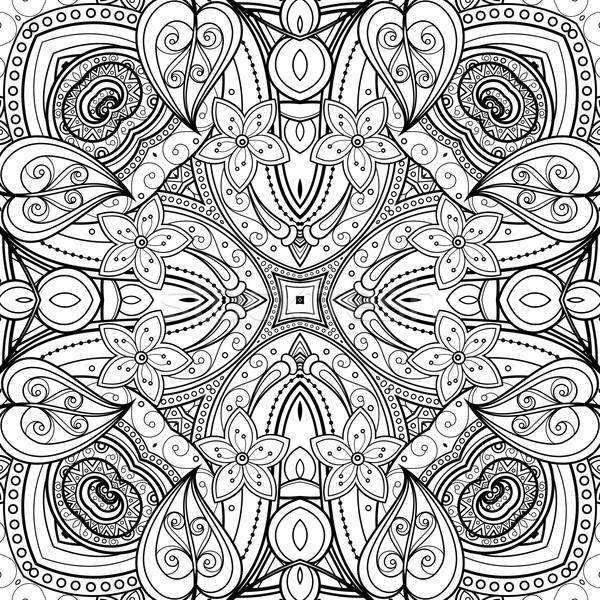 Vector Seamless Abstract Black and White Tribal Pattern Stock photo © lissantee