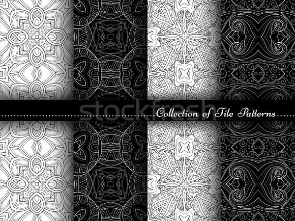 Vector Collection of Black and White Seamless Vintage Patterns Stock photo © lissantee