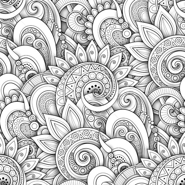 Monochrome Seamless Pattern with Floral Motifs Stock photo © lissantee