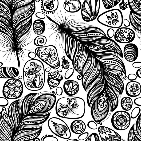 Monochrome Seamless Pattern with Sea Pebbles and Feathers Stock photo © lissantee
