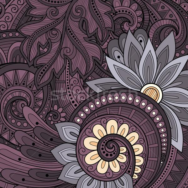 Vektor színes virágmintás kézzel rajzolt dísz virágok Stock fotó © lissantee