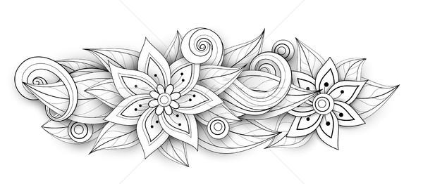 Vetor monocromático floral oval forma Foto stock © lissantee
