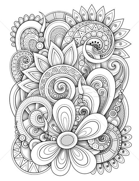 Monocromo floral diseno garabato línea estilo Foto stock © lissantee