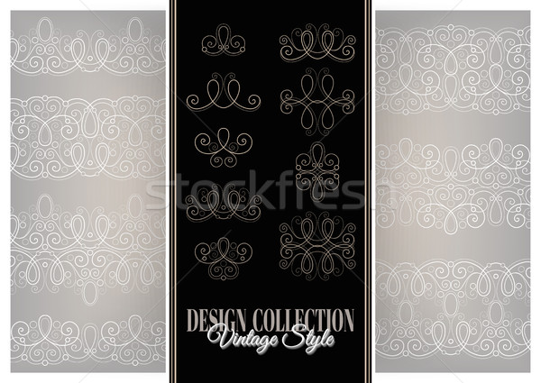 Vector Set of Calligraphic Design Elements and Ornate Laces Stock photo © lissantee