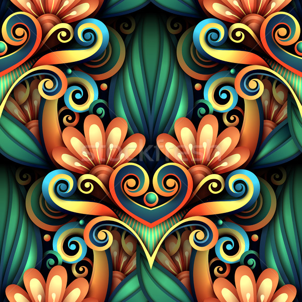 Stock photo: Vector Colored Seamless Pattern with Floral Ornament