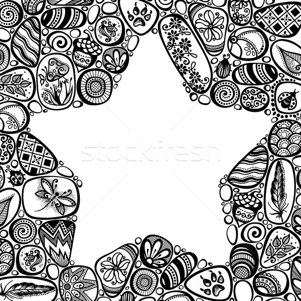 Decorative Negative Space Star Symbol from Sea Pebbles with Orna Stock photo © lissantee