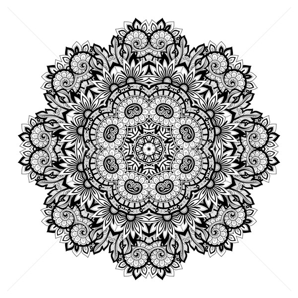 Vecteur belle monochrome contour mandala Photo stock © lissantee