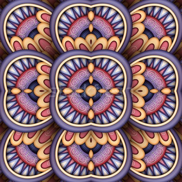 бесшовный плитка шаблон фантастический калейдоскоп Сток-фото © lissantee