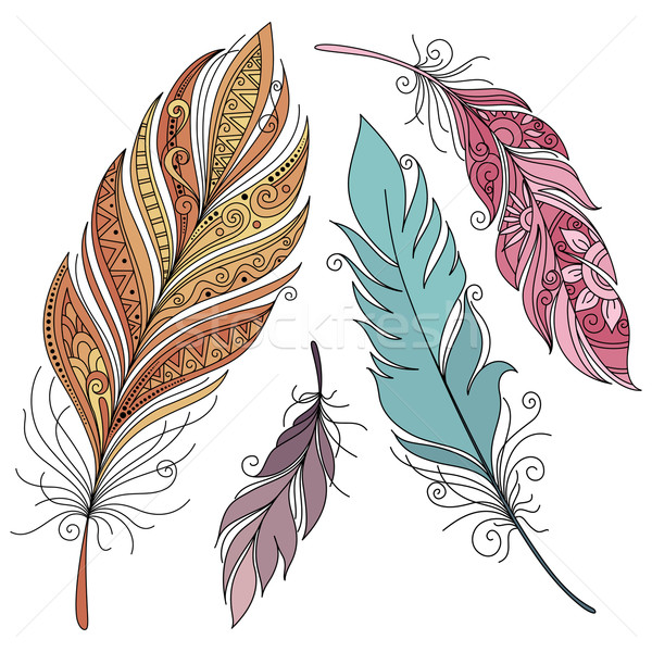 Vector Set of Colored Ornate Decorative Feathers Stock photo © lissantee