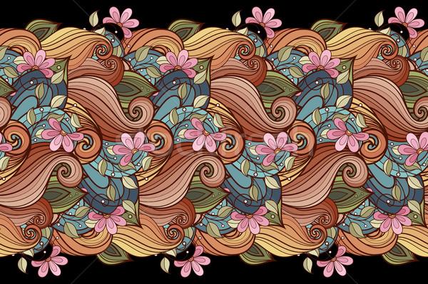 Vektor végtelenített virágmintás minta kézzel rajzolt textúra Stock fotó © lissantee