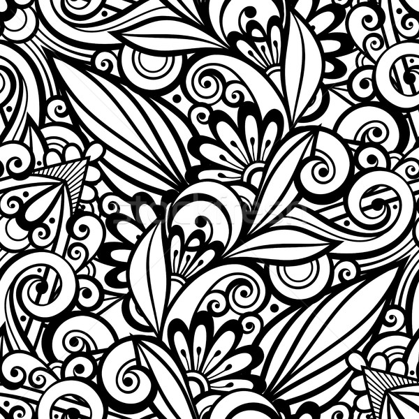Vector Monochrome Seamless Pattern with Floral Ornament Stock photo © lissantee