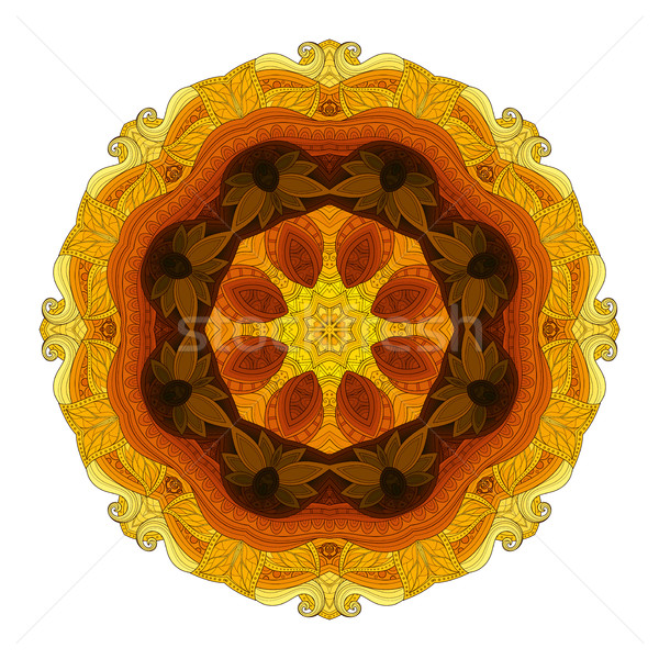 Stock photo: Vector Beautiful Deco Colored contour Mandala