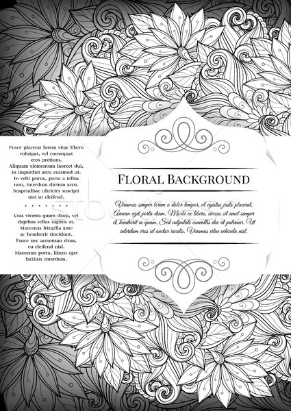 Vector Mohochrome Floral Template with Place for Text Stock photo © lissantee