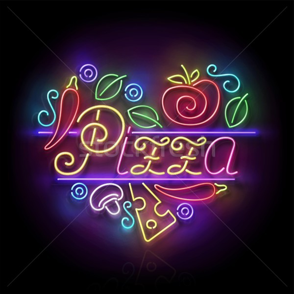 Stock photo: Italian Pizza Heart Signboard