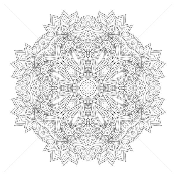 Stockfoto: Vector · mooie · monochroom · contour · vierkante