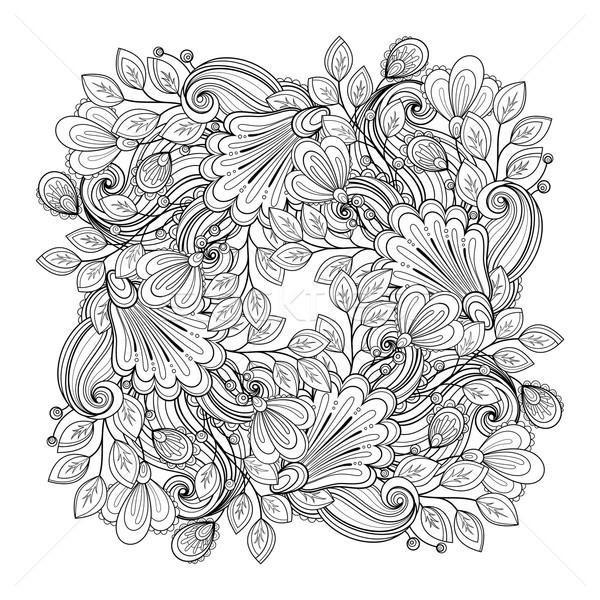ベクトル モノクロ フローラル 手描き 飾り 花 ストックフォト © lissantee