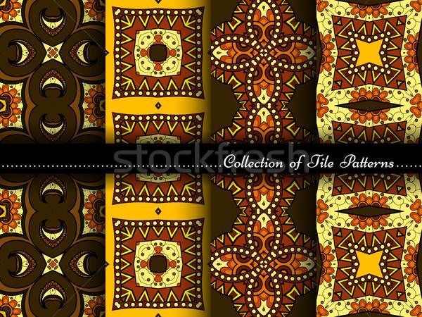 Stock foto: Vektor · Sammlung · Jahrgang · Muster · Hand · gezeichnet