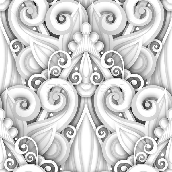 Vektor fehér végtelen minta virágmintás dísz kézzel rajzolt Stock fotó © lissantee