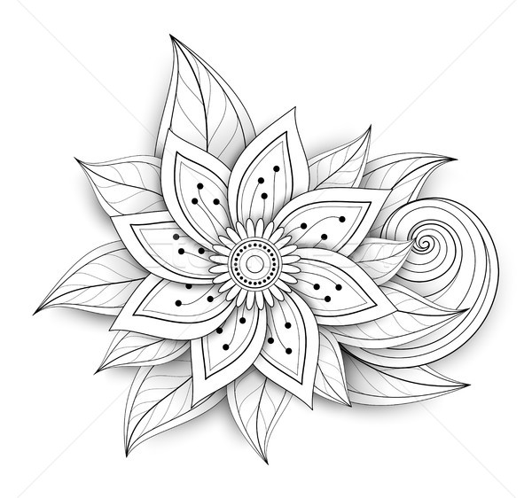 Vector Beautiful Abstract Monochrome Floral Composition Stock photo © lissantee
