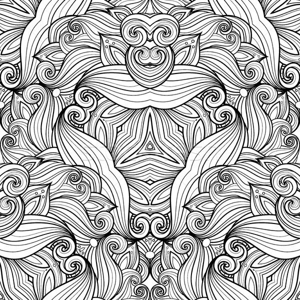 Stock photo: Vector Seamless Monochrome Ornate Pattern