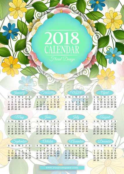 Colored 2018 Year Calendar Rectangular Template Stock photo © lissantee