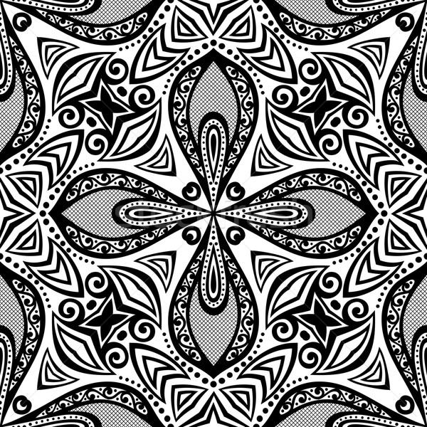 Vektor Jahrgang schwarz weiß Hand gezeichnet Stock foto © lissantee