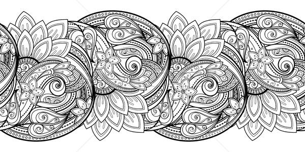вектора бесшовный монохромный цветочный шаблон рисованной Сток-фото © lissantee