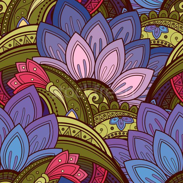 Vector sin costura floral patrón dibujado a mano textura Foto stock © lissantee
