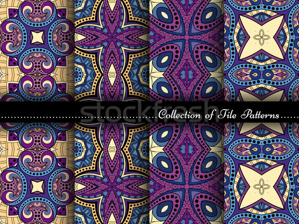 ストックフォト: ベクトル · コレクション · シームレス · ヴィンテージ · パターン · 手描き