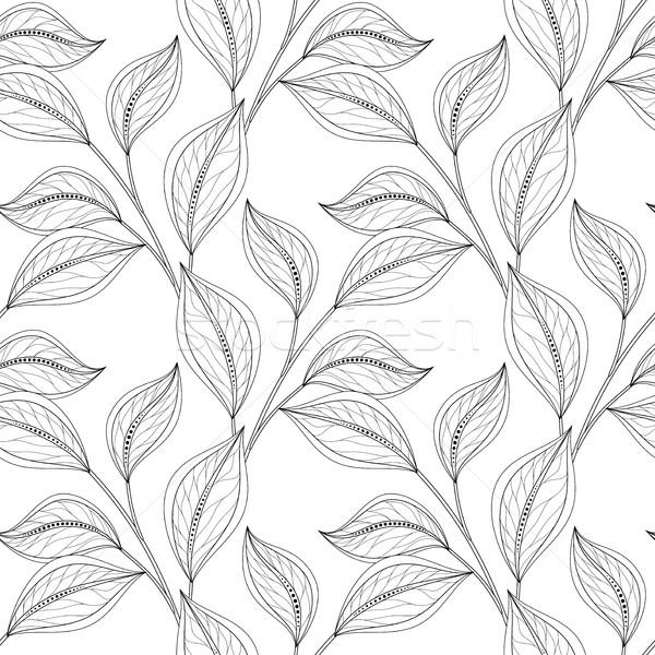 ベクトル モノクロ シームレス フローラル パターン 手描き ストックフォト © lissantee