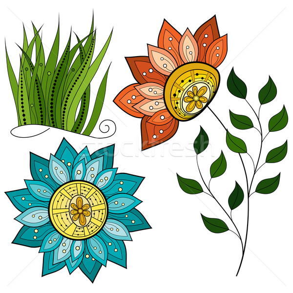 Vector Set of Colored Contour Flowers and Leaves Stock photo © lissantee