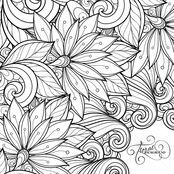 вектора монохромный цветочный рисованной орнамент цветы Сток-фото © lissantee