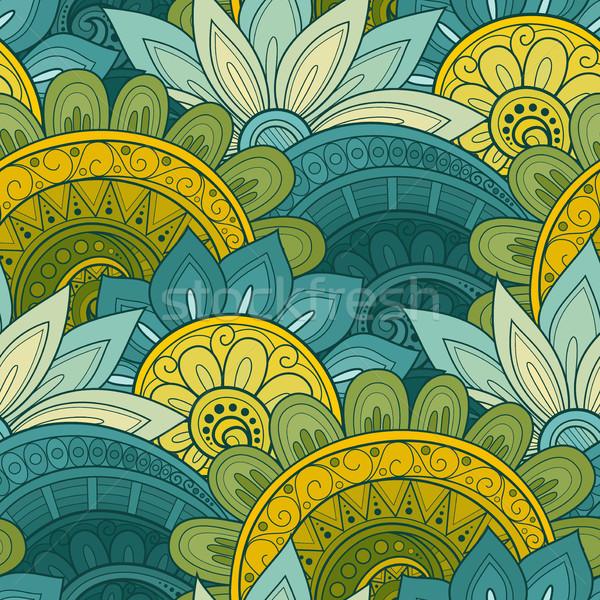 Сток-фото: вектора · бесшовный · цветочный · шаблон · рисованной · текстуры