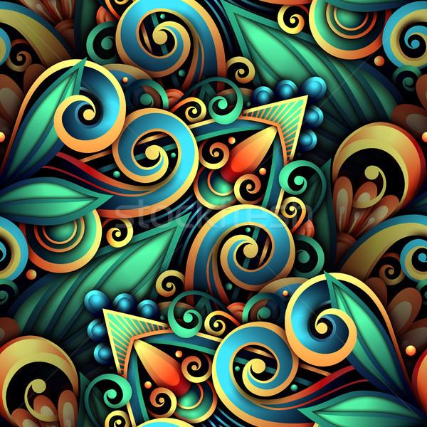 ストックフォト: ベクトル · フローラル · 飾り · 手描き