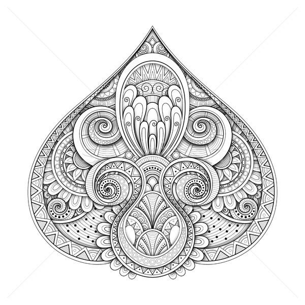 Monocromático decorativo abstrato tribal simétrico Foto stock © lissantee