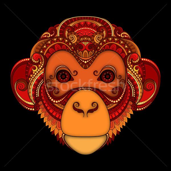 Stock photo: Vector Ornate Monkey Head