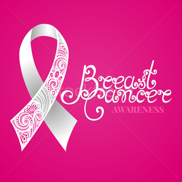 Vector Ornate White Ribbon of Breast Cancer on Pink Background Stock photo © lissantee