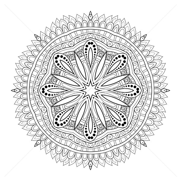 Stock photo: Vector Beautiful Deco Monochrome Contour Mandala
