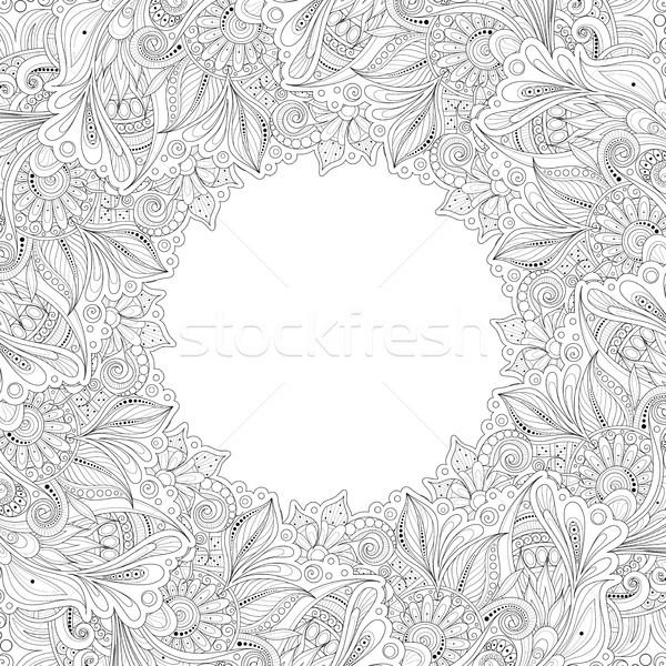 вектора монохромный цветочный рисованной орнамент венок Сток-фото © lissantee