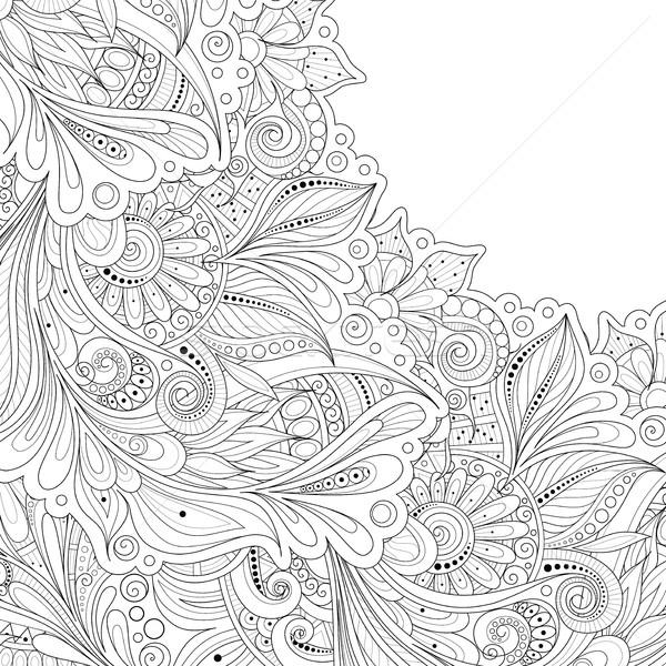 Vektor monokróm virágmintás kézzel rajzolt dísz virágok Stock fotó © lissantee