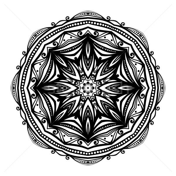 Stok fotoğraf: Vektör · güzel · siyah · mandala · etnik