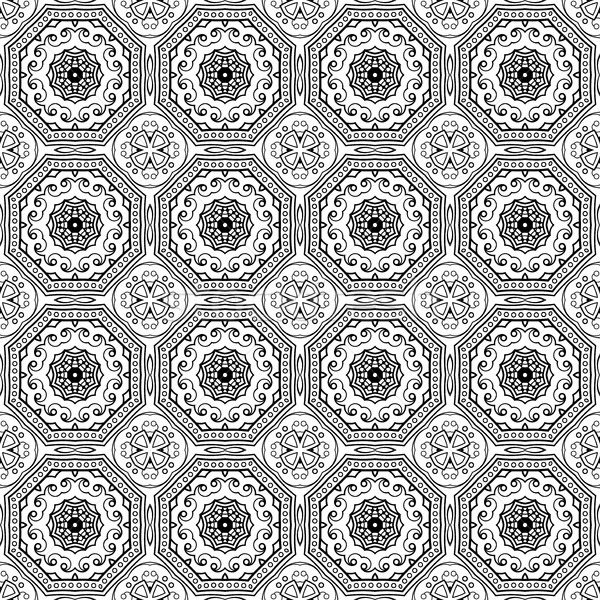 Vector sin costura vintage blanco negro dibujado a mano Foto stock © lissantee