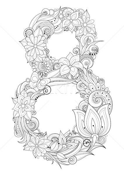 Vector 8 March Floral Template Stock photo © lissantee
