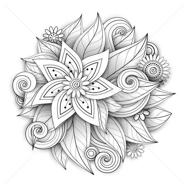 Vetor monocromático floral forma ornamento Foto stock © lissantee