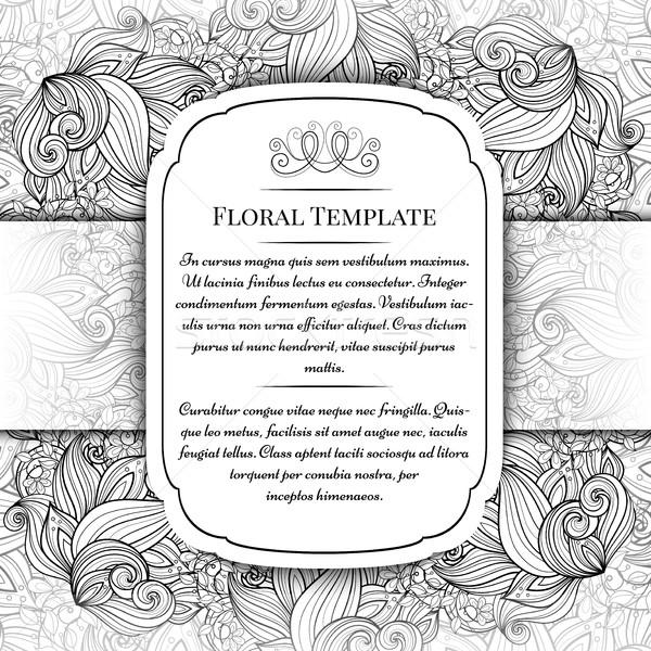 Vetor monocromático floral modelo lugar texto Foto stock © lissantee