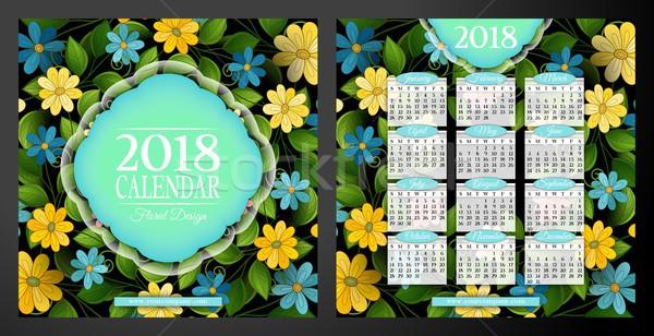 Ano calendário praça modelo belo Foto stock © lissantee