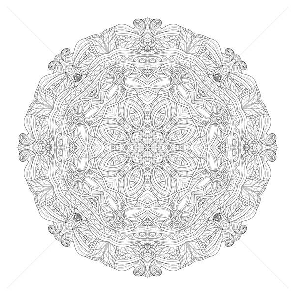 вектора красивой монохромный мандала Сток-фото © lissantee