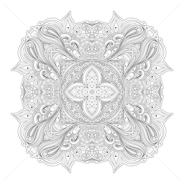 Vektor gyönyörű monokróm körvonal tér dizájn elem Stock fotó © lissantee